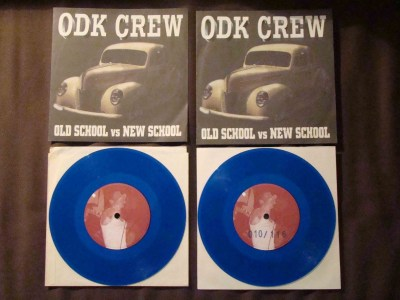 ODK crew 7 inch oldschool versus newschool blue vinyl numbered not numbered versions frostbite records