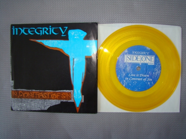 integrity in contrast of sin vinyl 7 inch gold yellow victory records pressing